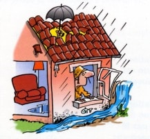 Logement indécent innondé par la pluie- dessin humoristique